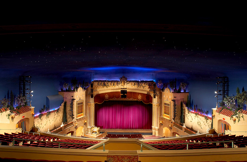 Plaza Theater integrated AV system speakers