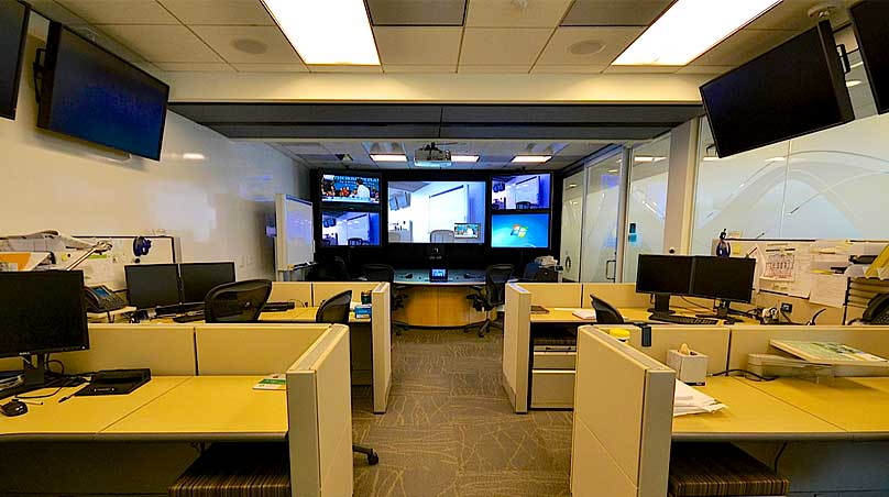 BP corporate conference room multiscreen video teleconferencing system