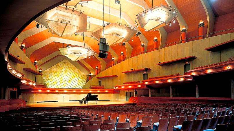 University of North Texas Performance Hall audio speaker cluster live sound arrays
