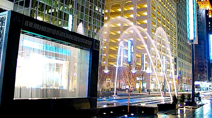 Downtown Houston outdoor water screen with video projection