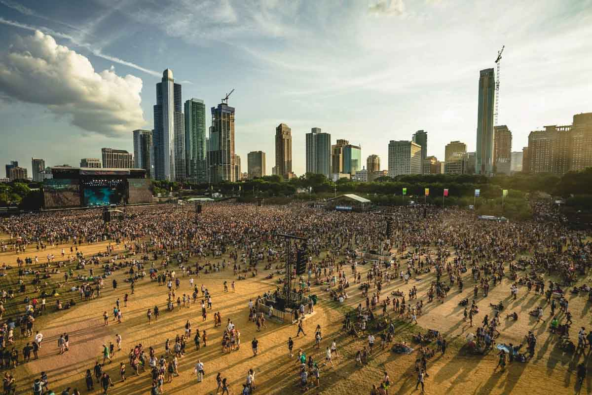 Lollapalooza festival concert site audience audio delay speaker towers
