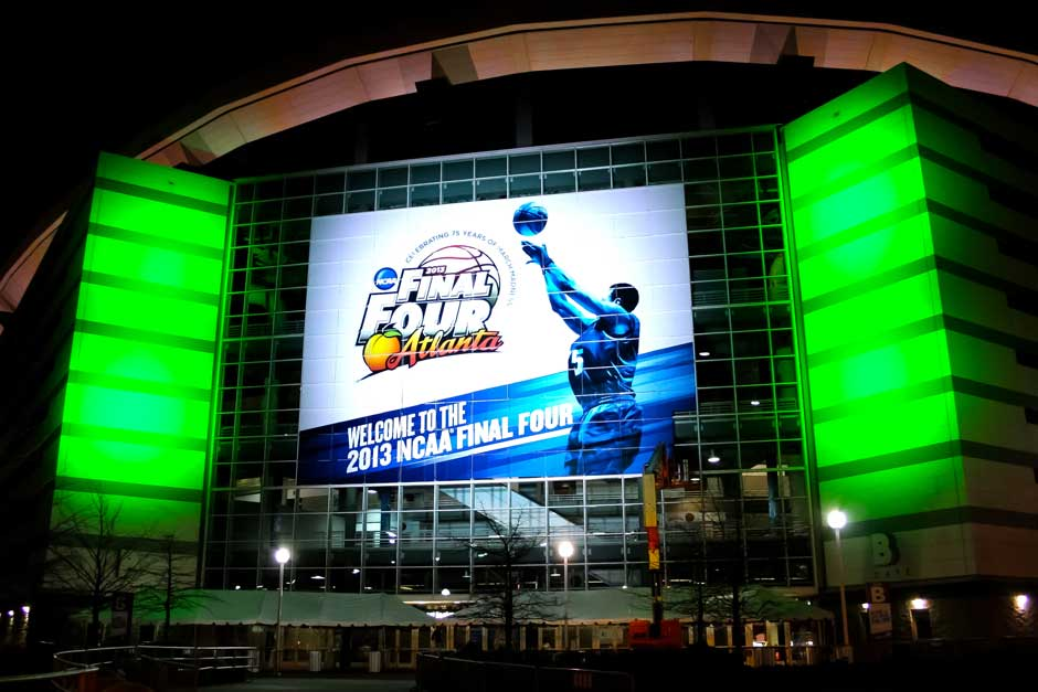 NCAA Final Four arena exterior lighting