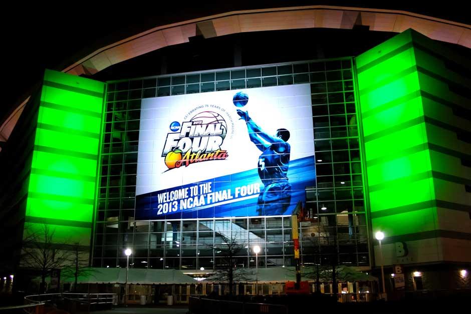 NCAA Final Four arena exterior lighting