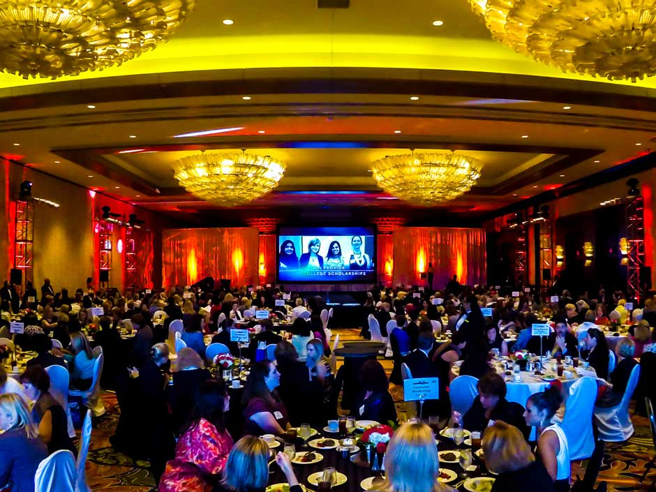 Greater Houston Womens Chamber of Commerce ballroom décor lighting design