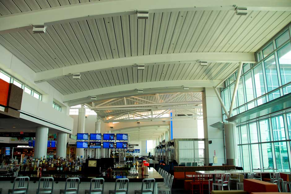 Airport overhead speaker system for bar area