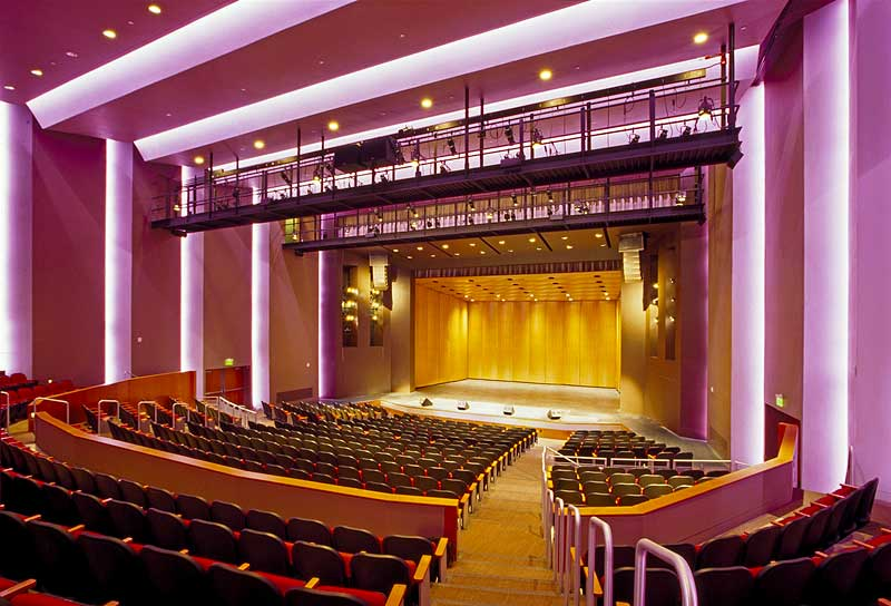 John Cooper School Performance Arts Center ceiling mounted Meyer audio speaker line arrays