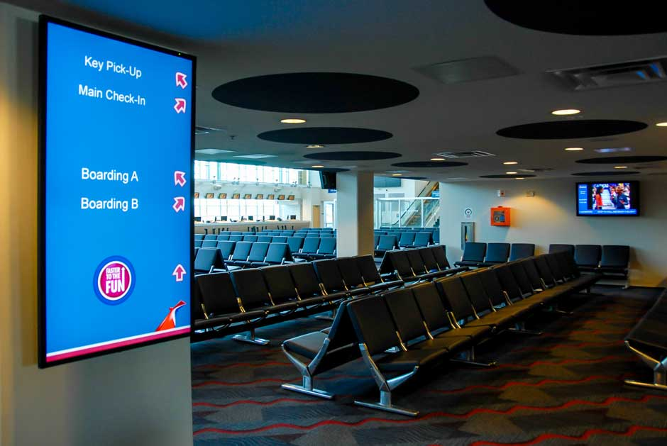 Carnival Cruise Lines boarding area LED flat screen video signage