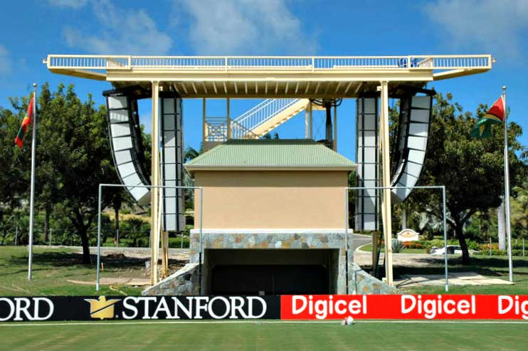 Stanford Cricket Grounds white flown audio speaker line arrays