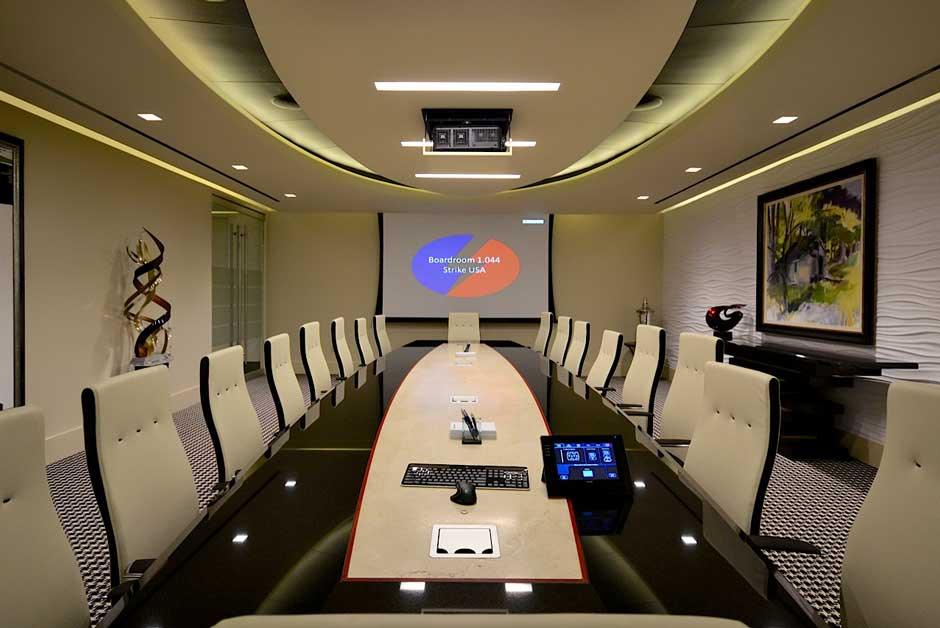 Strike USA boardroom video projection screen