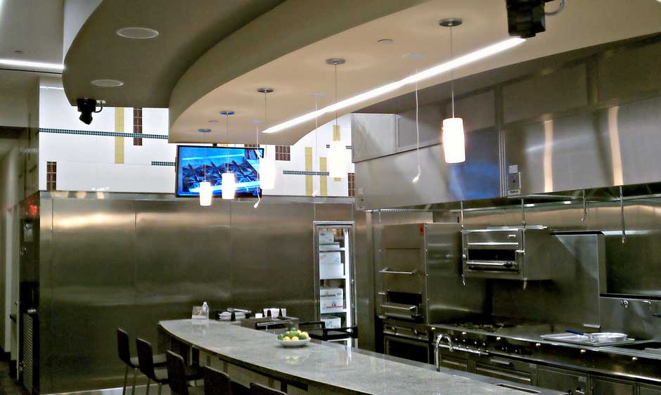 Sysco Commercial Demonstration Kitchen flat panel video monitor and overhead audio microphones