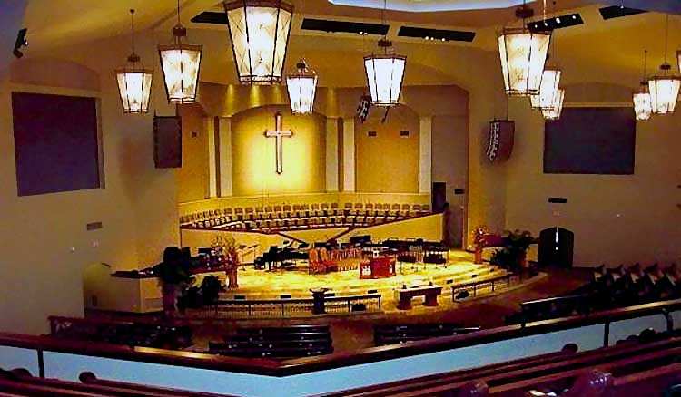 Woodlands United Methodist Church ceiling mounted EAW JF audio speaker line array system