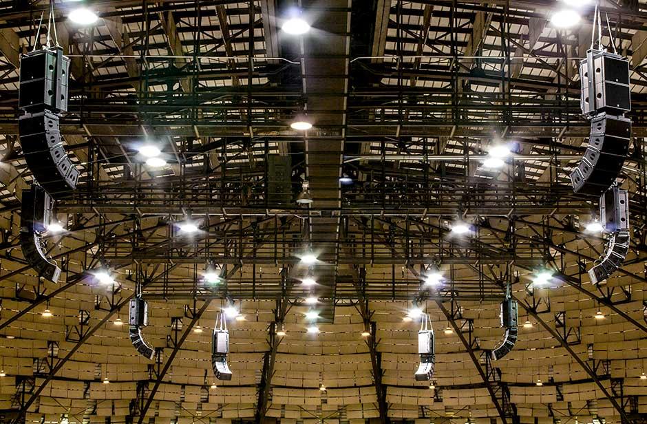 Freeman Coliseum arena audio speaker arrays