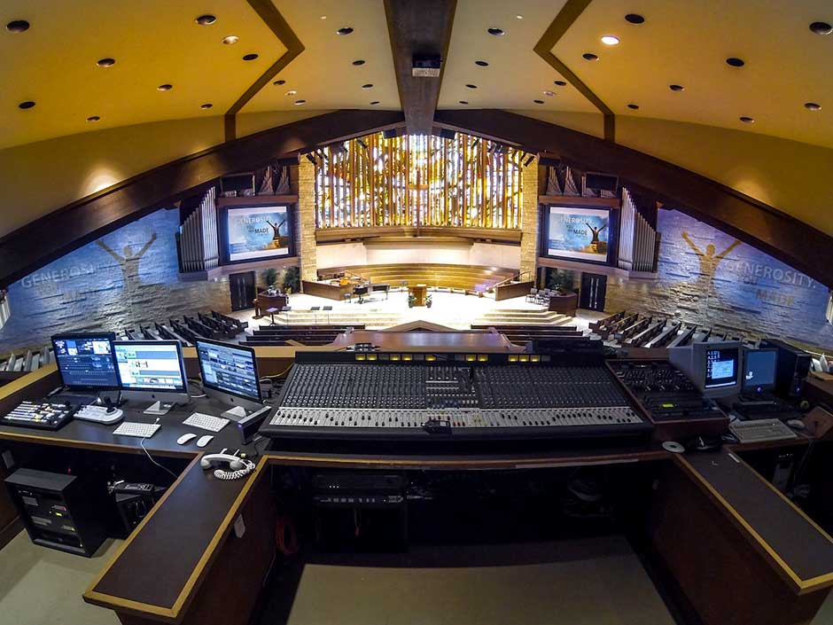 Memorial Drive Presbyterian Church Sanctuary front of house video and audio control consoles
