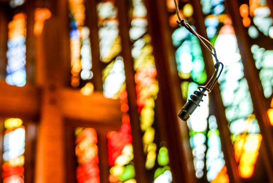 Memorial Drive Presbyterian Church choir hanging microphone and stained glass window