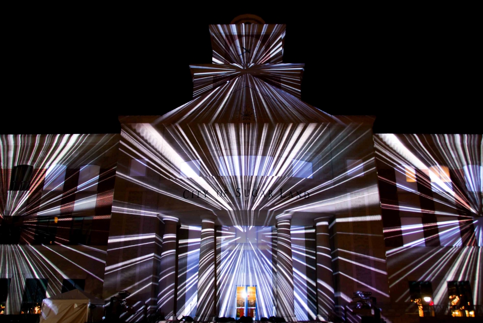 Sugar Land New Year's Eve downtown event 3D projection mapping