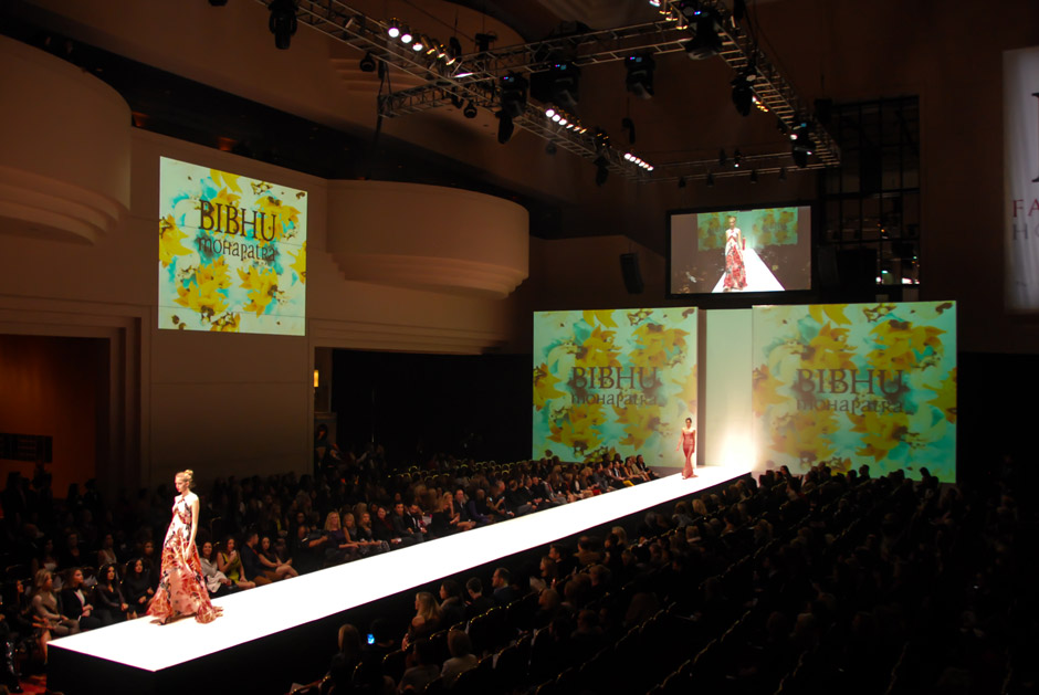 Fashion Houston runway lighting design and large video backdrop