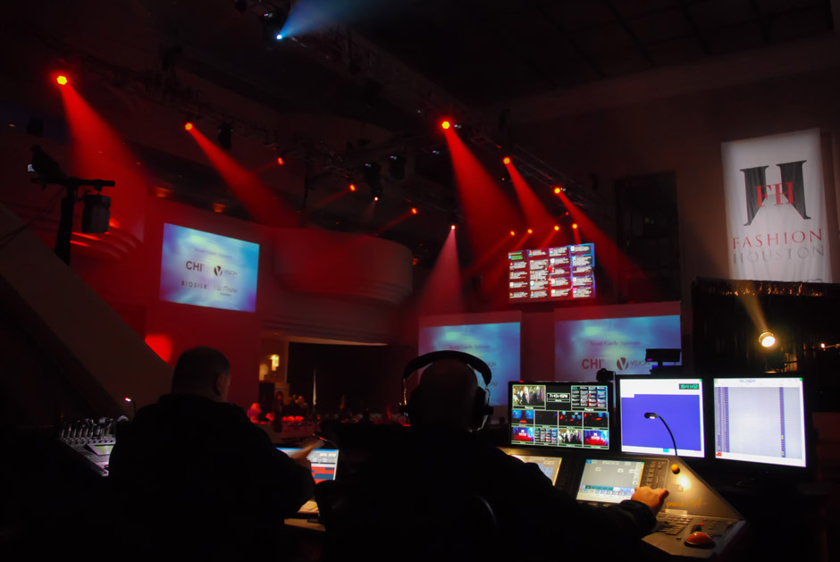 Fashion Houston production control booth and technical crew