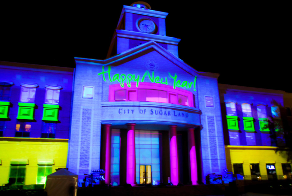 Sugar Land New Year's Eve live event building 3D projection mapping