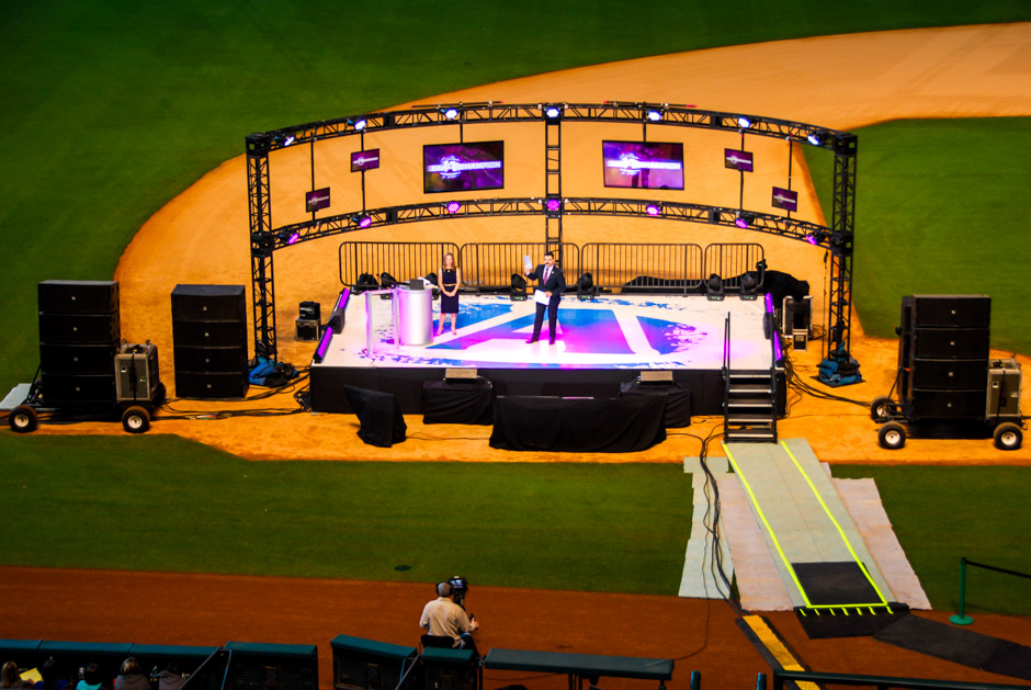 Advocare National conference stage, video displays and ground supported audio arrays
