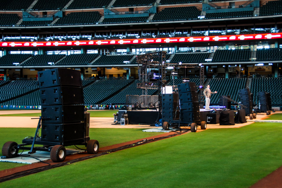 Advocare National sales event audio speaker stacks on ground