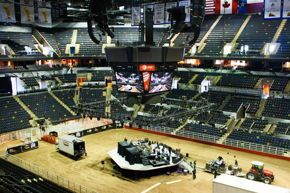 San Antonio Stock Show & Rodeo arena stage and lighting truss