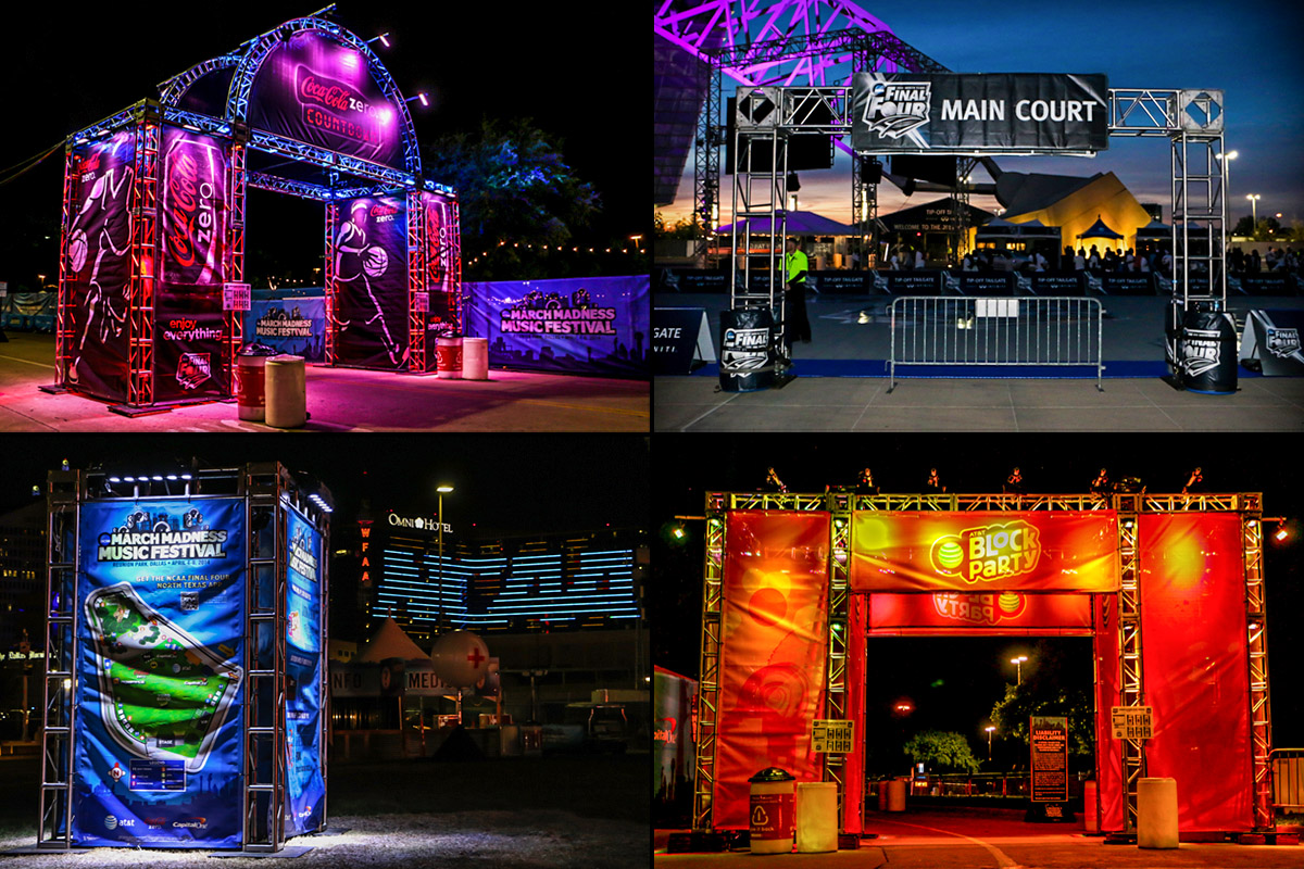 NCAA March Madness Music Festival entrance truss structures lighting