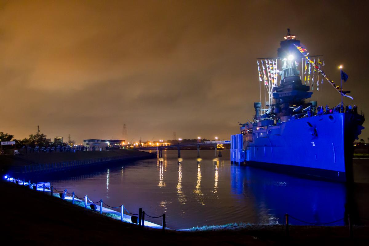 Battleship Texas outdoor decor lighting