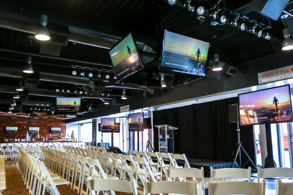 Statoil OTC Houston corporate event meeting video displays and stage
