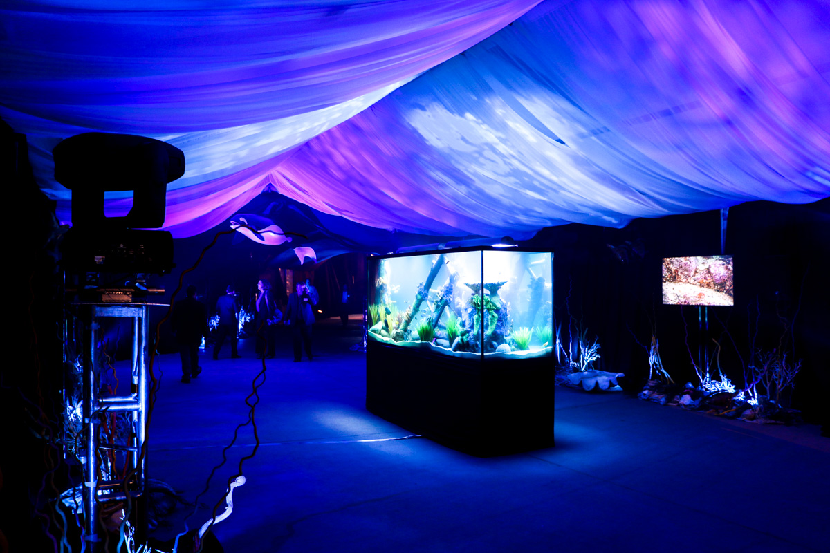 Statoil OTC Houston entrance tent lighting with scenic aquarium event decor
