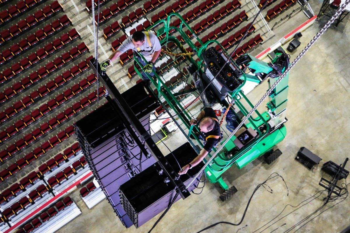 Toyota Center L-Acoustics Audio Speaker Array LD Systems rigging crew installation