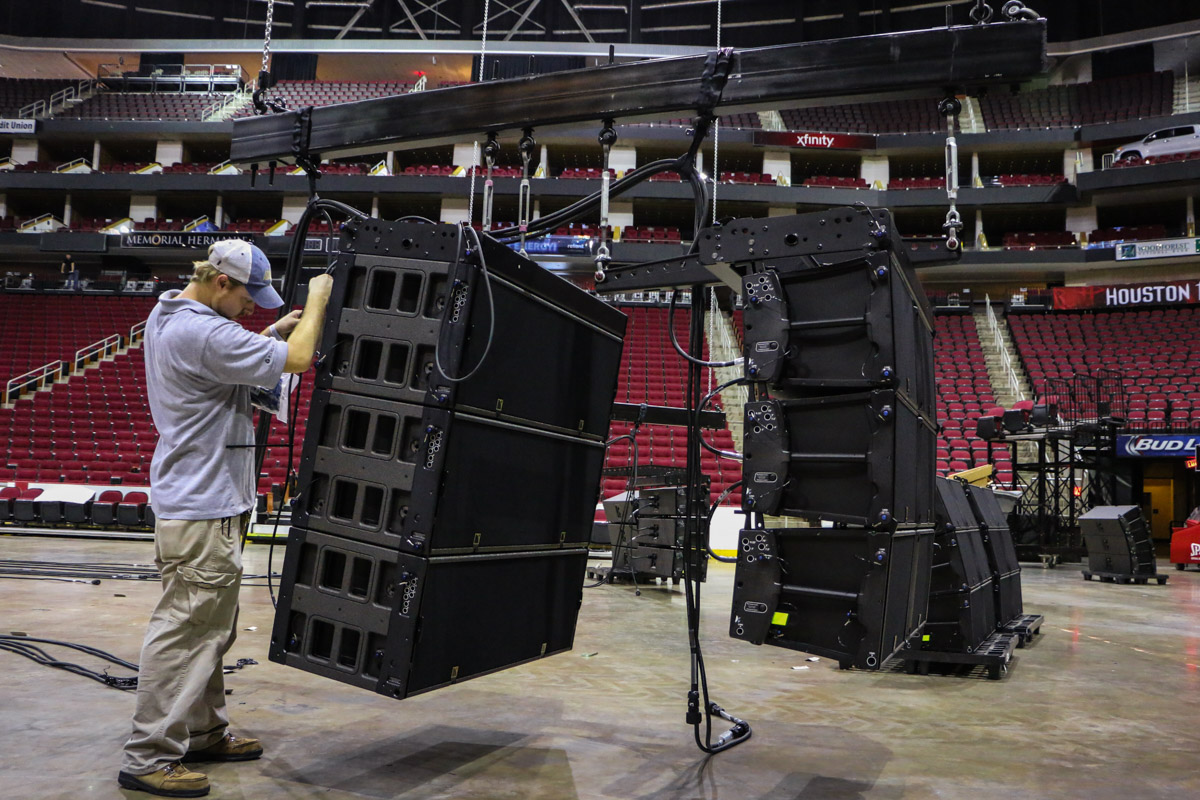 Rigging of L-Acoustics K1 SB audio subwoofers and K2 audio speakers at Toyota Center