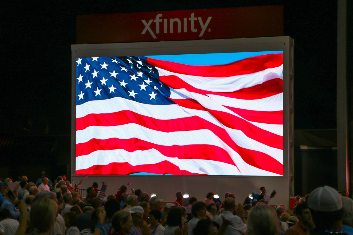 Cynthia Woods Mitchell Pavilion performance X7 HD LED Video Screen showing US flag