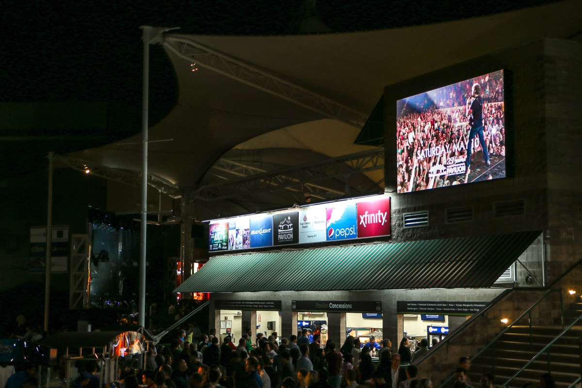 Cynthia Woods Mitchell Pavilion concessions area Screenworks LSI LED video screen