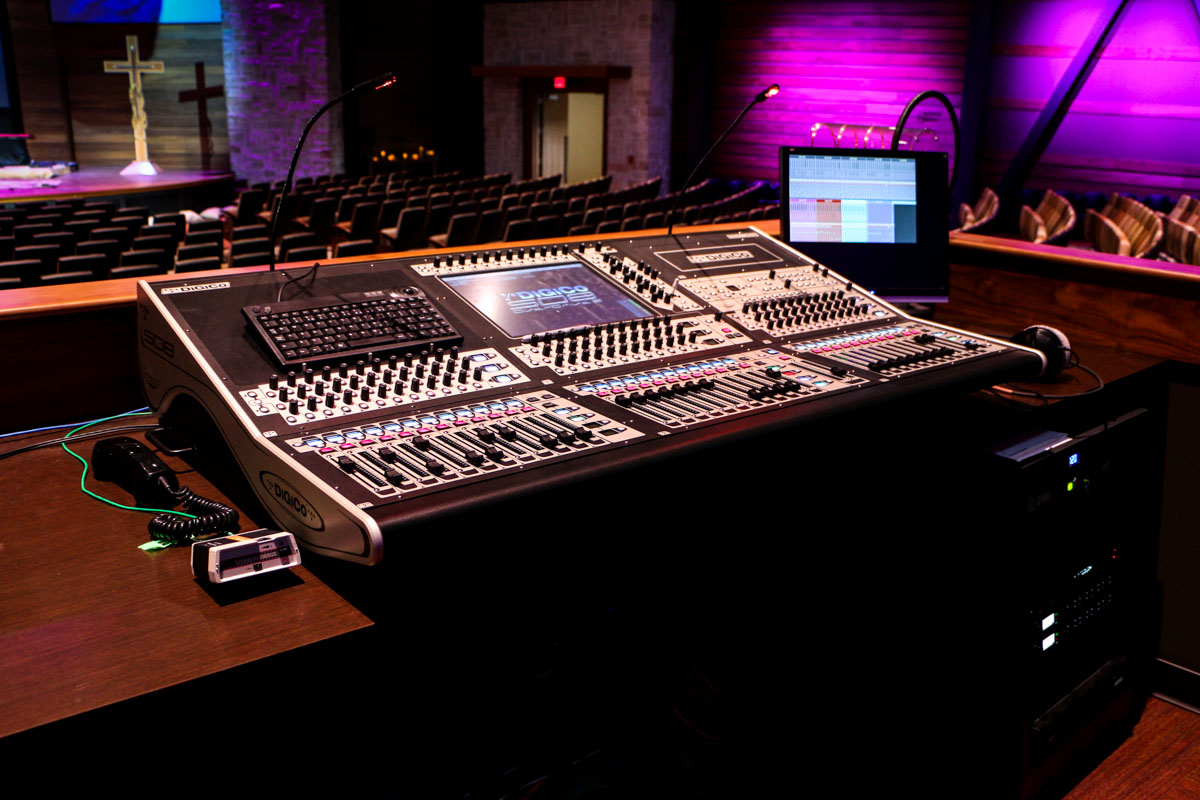 Woodlands United Methodist Church Harvest Worship Center front of house digico SD8 audio mixing console