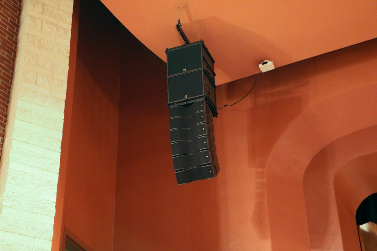 Deer Park High School Performing Arts Center ceiling L-Acoustics KIVA Audio Speaker Array