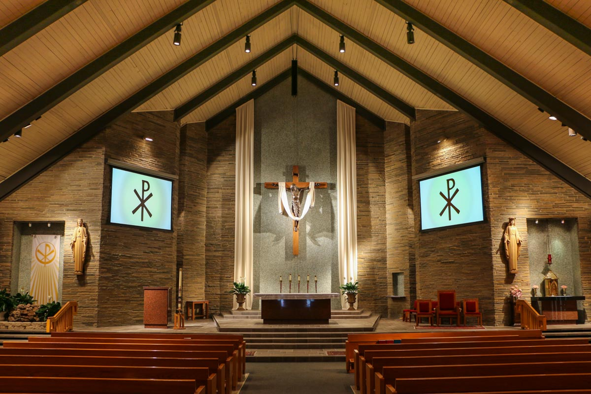St Rose of Lima church ceiling mounted Renkus Heinza ICL FR Audio Speaker Line Array