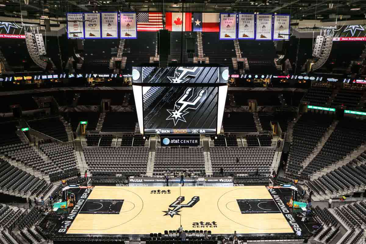 AT&T center arena scoreboard and audio speaker system