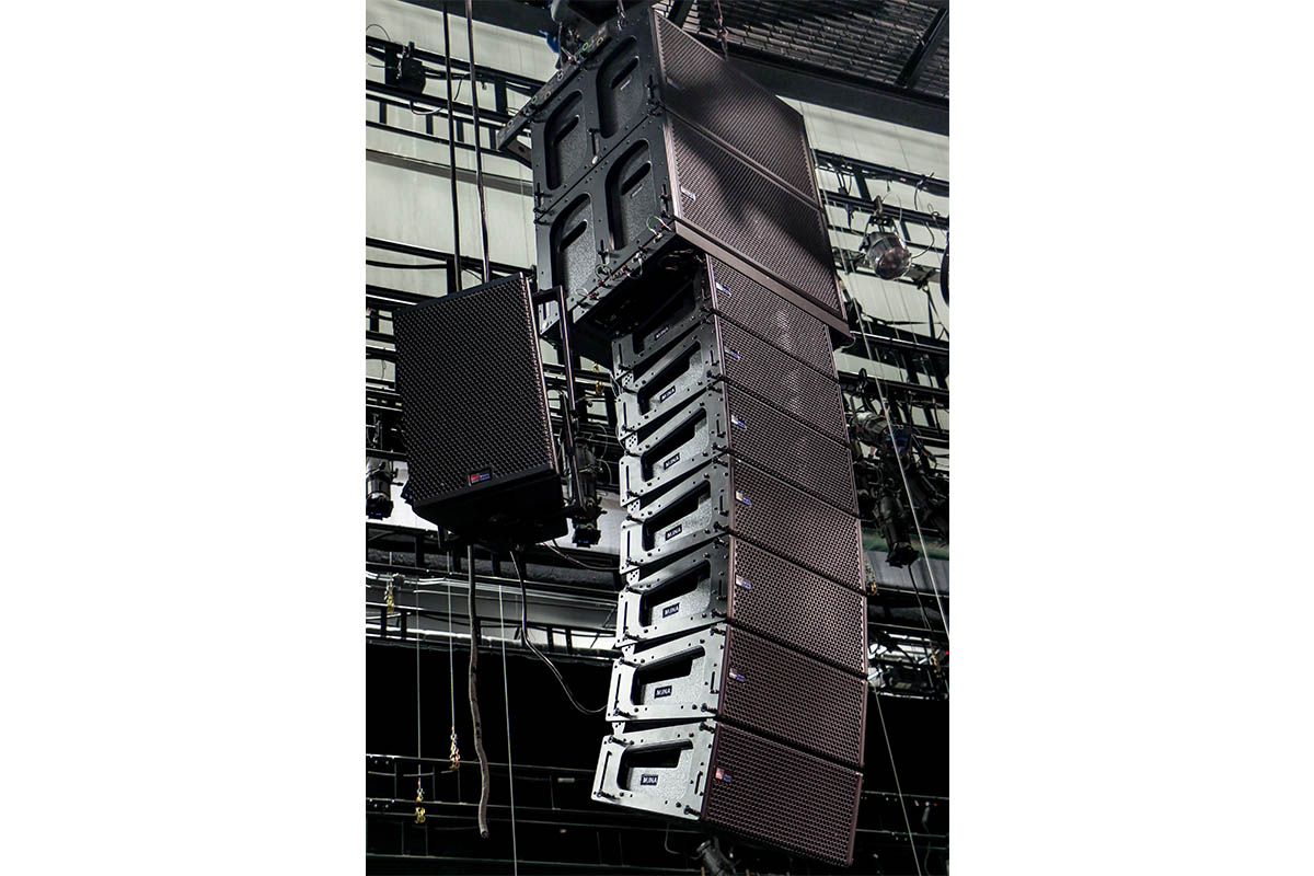Alley Theatre stage flown audio Meyer Sound MINA line array
