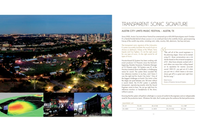 Austin City Limits Music Festival<br>and LD Systems Sound System Featured in the L-Acoustics Festival Brochure