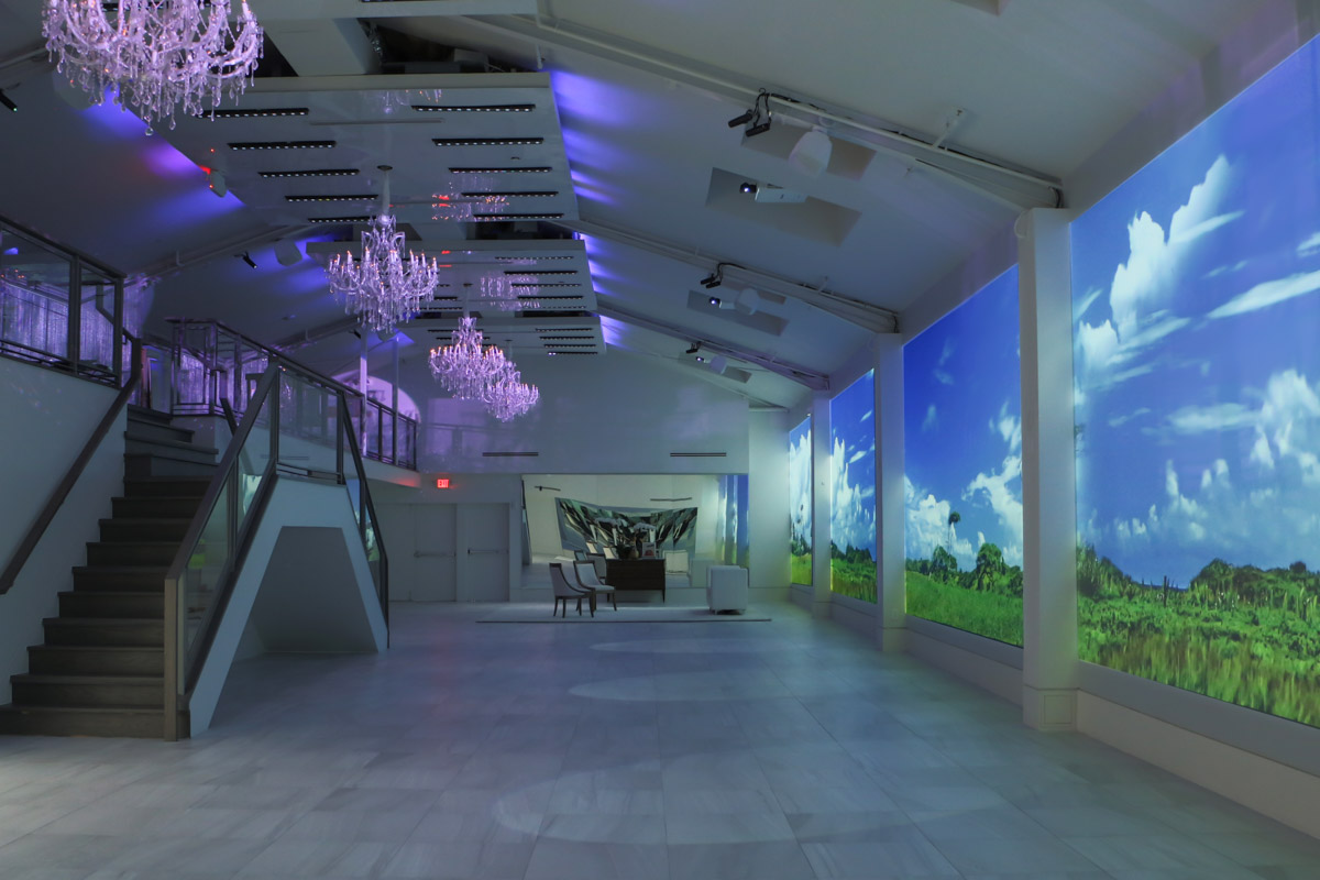 LIFE HTX event space large format wide video wall projection and LED lighting system