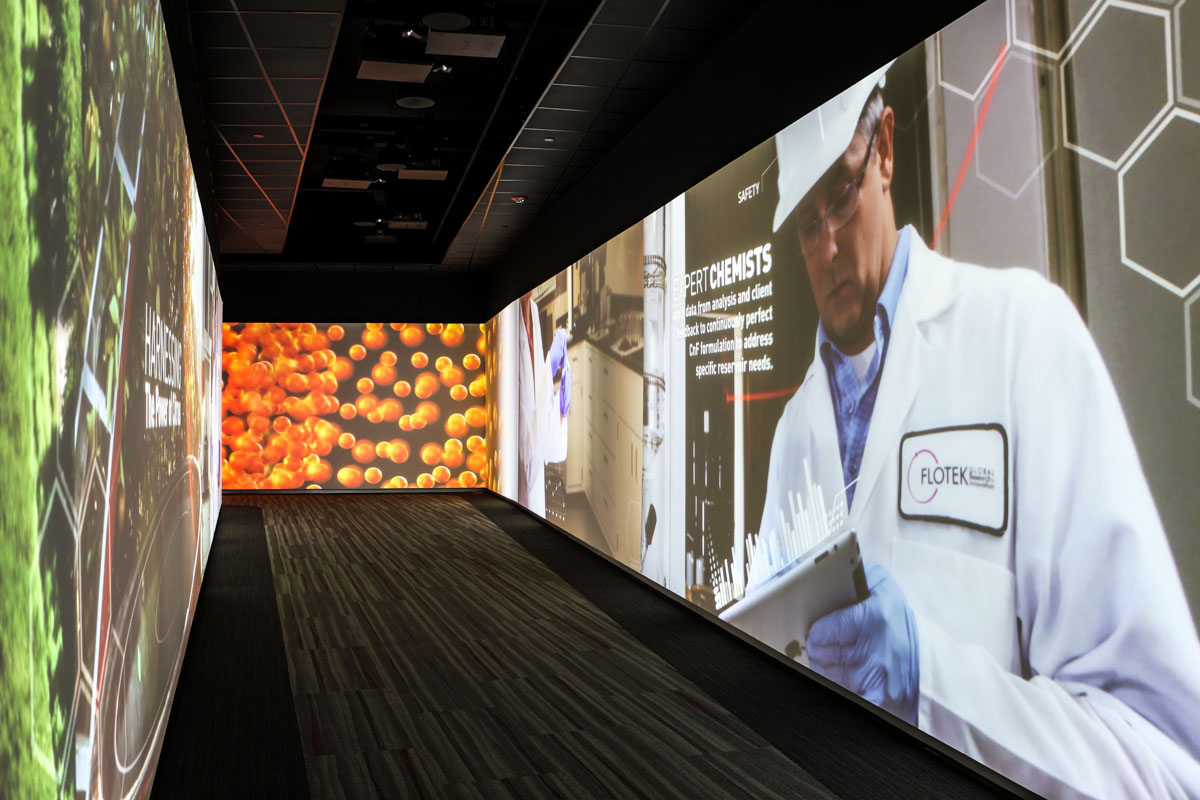 Flotek visitor center immersive video wall projection