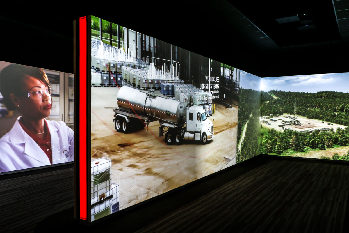 Flotek Forum Command Center immersive media tunnel blended video wall projections