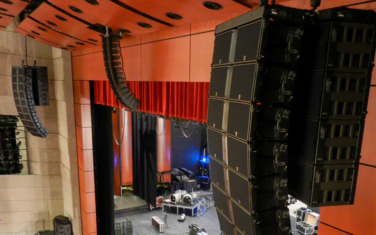 Wagner Noel Performing Arts Center Audio L-Acoustics Ceiling K2 speaker array and K1 SB subwoofers