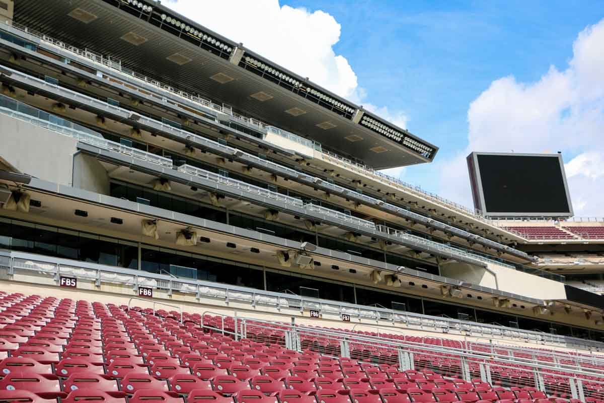 Kyle Field stadium suites public address audio distribution system