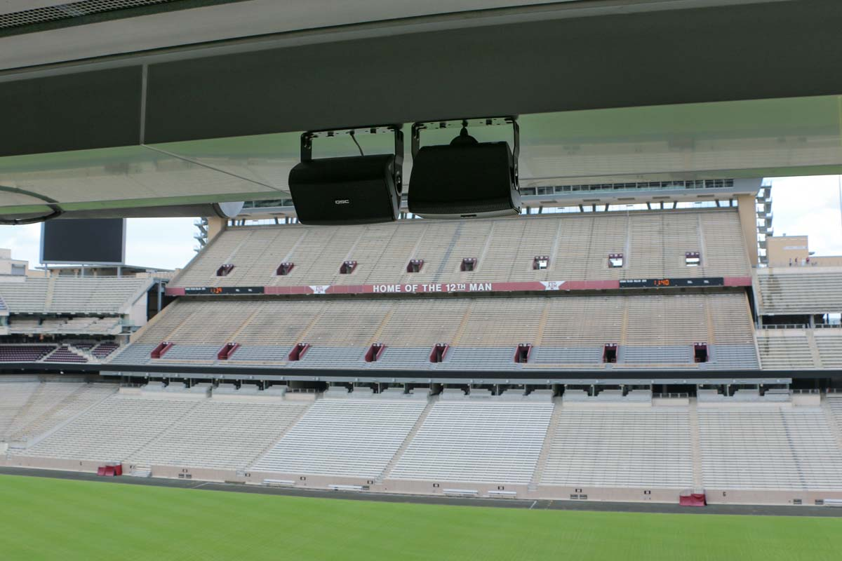 Kyle Field Stadium Suite QSC AD 532T low profile speakers