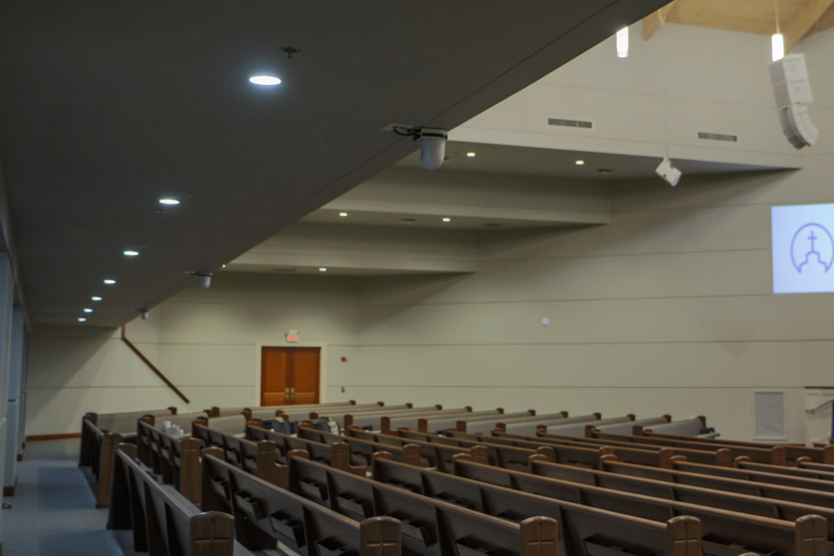 First Methodist Conroe main sanctuary Panasonic PTZ sermon broadcast cameras