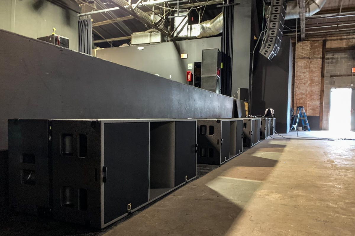 Warehouse Live main stage L-Acoustics KS28 sound system subwoofers