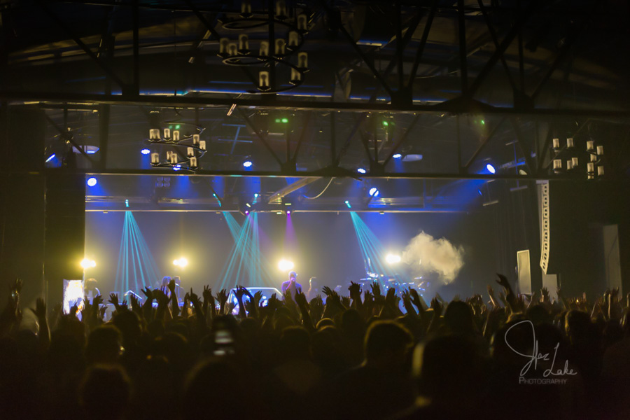 Warehouse Live concert stage with live sound and lighting