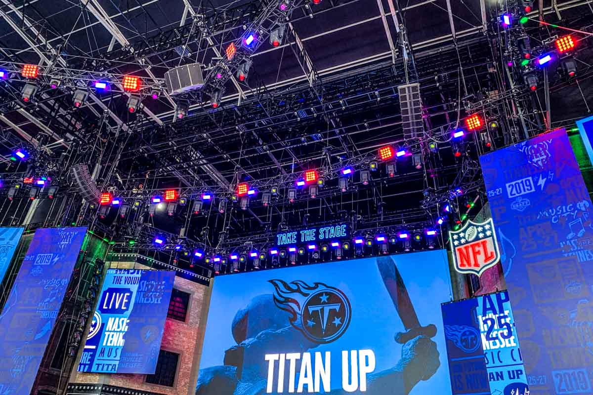 NFL Draft main stage lighting and audio system