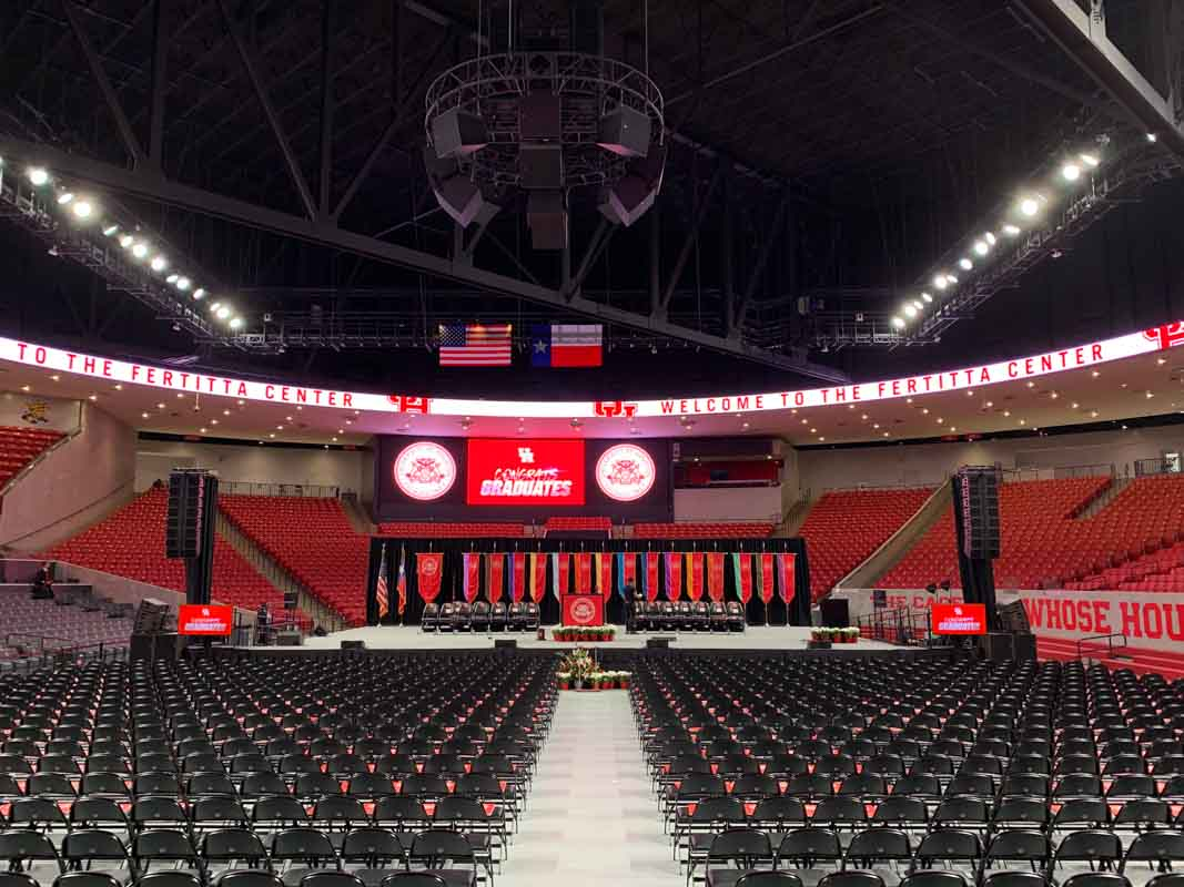 Fertitta Center graduation stage setup